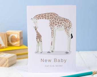 Personalised New Baby Giraffe