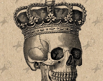 Collage Halloween Skull Crown Royal image Instant Download Digital printable clipart graphic Burlap Fabric Transfer Iron On  Decor HQ 300dpi