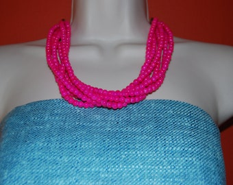 Bright Fuchsia Pink Beaded Statement Necklace Chunky Bold
