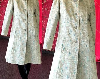 Mod Brocade Dress 60s Metallic Silver Rhinestone Party Evening Dress