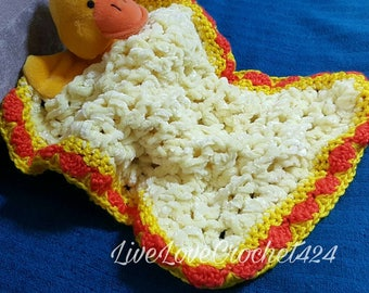 Quackup the cute little duck Baby Cuddle Blanket Lovey Rug for Baby Boy or Girl
