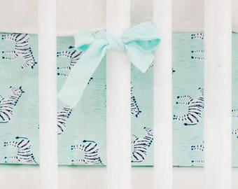 Zebra Parade in Mint Crib Baby Bedding | Crib Sheet
