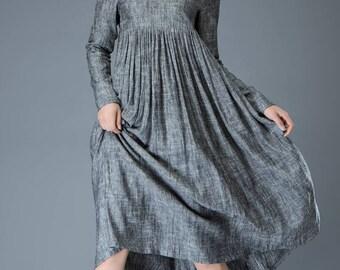 Linen dress, linen dress women, gray linen dress, woman dress, long linen dress, plus size dress, dress sleeve, gray dress plus size  C808