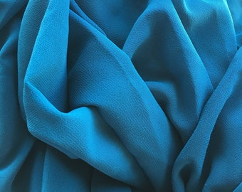 Dark teal double georgette fabric. 2 yards.