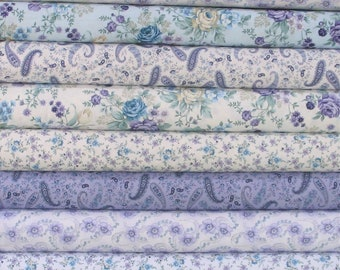Ten Teal & Purple Floral and Paisley Fabric Bundle of Twilight Garden by Henry Glass Fabrics, 100% Cotton Quilt Fabric Bundle for Sale