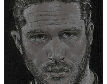 A6 postcard featuring drawing of Tom Hardy