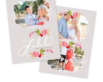 INSTANT DOWNLOAD 5x7 Christmas Card Photoshop Template - CA525