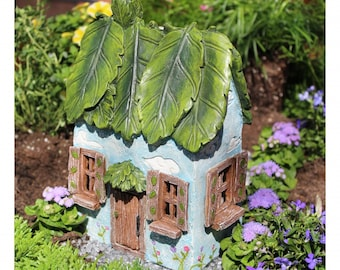 Fairy Cottage House - Miniature resin fairy garden cottage - fairy house - Windy Ridge - hinged door opens - leaf roof - whimsical