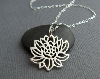 """sterling silver lotus flower necklace. small floral charm. zen yoga yogi jewelry gift simple layering petite delicate dainty pendant 7/8"""""""