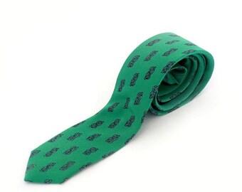 SALE Vintage Italian Silk Skinny Tie, Green Silk Necktie with knot symbol print ,Wedding Men's Silk Tie, Mid Century Tie