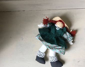 Vintage Anne of Green Gables Doll | Anne Shirley Rag Doll | Story Book Character Doll | Lucy Maude Montgomery Doll | Cloth and Block Doll