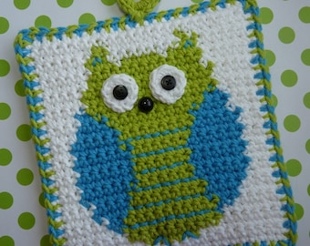 Owl Potholder Crochet PATTERN - INSTANT DOWNLOAD