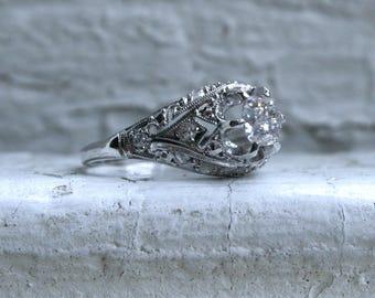 Gorgeous Vintage Filigree Platinum Diamond Engagement Ring - 0.61ct.