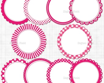 Hot pink scalloped circle frames / labels clip art set - printable digital clipart - instant download