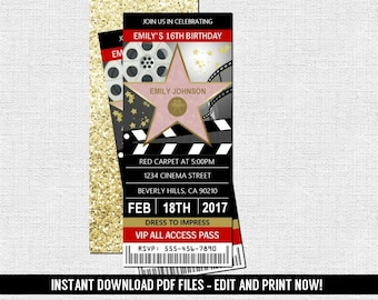 Hollywood Ticket Invitation -  Red Carpet Movie Birthday Party - (Instant Download) Editable and Printable PDF Files