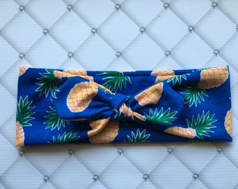 Limited Edition Royal Blue Pineapple Top Knot // Turban Headband