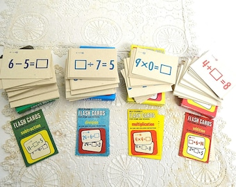 vintage flash cards set division multiplication addition subtraction flashcards