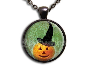 Wicked Pumpkin Glass Dome Pendant or with Chain Link Necklace HD129
