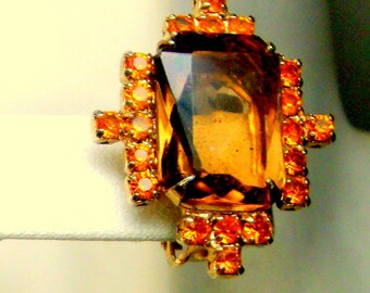 EARRINGS, Orange & Brown Rhinestone Clips, 1960s, Gorgeous Flashy Deco Design, Hot Geometry