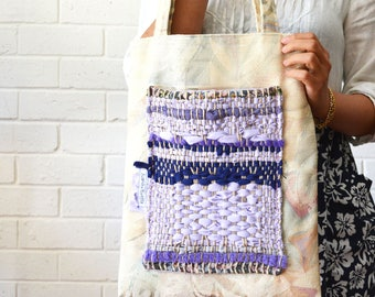 Lavender Boho Blue Weaving Striped Shoulder Tote Large Pocket patchwork Fabric Upcycled Bag Wabi sabi - August Minimum