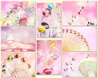 Nursery art, little girl room decor, pink, carnival photos, nursery decor, mauve, honeysuckle, purple, new baby, circus, carousel wall decor