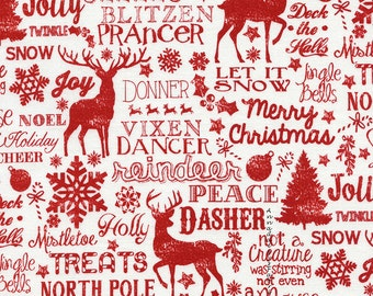 Christmas Words Fabric, Reindeer Words, Timeless Treasures Holiday Jolly C4526, Christmas Fabric, Red & White Christmas Quilt Fabric, Cotton