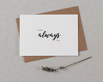 It Was Always You, Wedding Card to Bride or Groom, Wedding Day Card, Wedding Cards, Wedding Stationery, To My Groom Card, Bride Card, K8