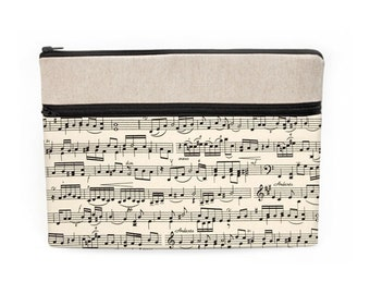 "Music Laptop Sleeve, iPad Pro 10.5"" Case, Macbook Air 13"" Bag, Custom Laptop Cases, Soft Fabric Computer Bags - black and cream music notes"