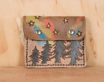 Minimalist Wallet - Leather Women's or Men's Credit Card Wallet in the Stars Pattern - Trees and Northern Lights in Antique Black