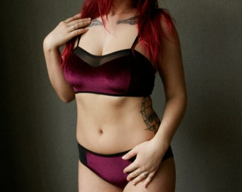 Wine Red Velvet Bustier and Panties Set / Red Velvet Lingerie set / Velvet bralette and panties with tulle sides set