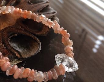 Sunstone and Herkimer Diamond Necklace, Sunstone Necklace