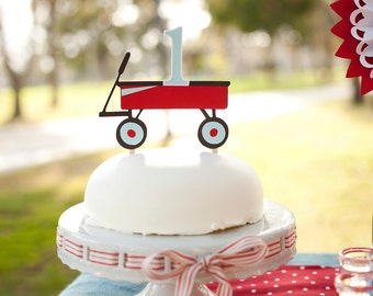 Little Red Wagon Cake Topper - 1st Birthday Decorations - ANY AGE - Cake Decorations - Smash Cake - Baby's 1st Cake