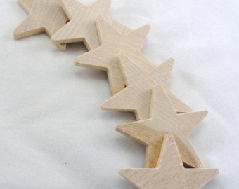 "6 Traditional 2 1/4 inch (2.25"") wooden stars, wood star, unfinished DIY"