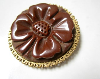 "Vintage Deeply Carved Bakelite Brooch Brown Clover Flower Vintage 2"" Round Pin Gift for Her Genuine Bakelite Under 50"