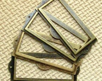 Antique Brass Label Holder - Set of 5 With Screws - Antique Bronze Card Holders, 9cm Wide,  Label Frames, Bronze Label Holders (LH0014)