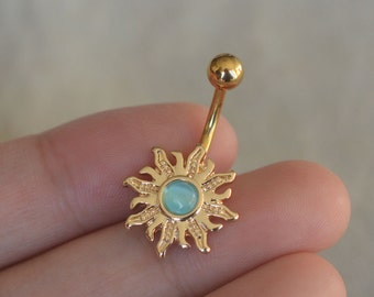 belly button rings,sun belly ring,cat eye stone belly button jewelry,bff gift