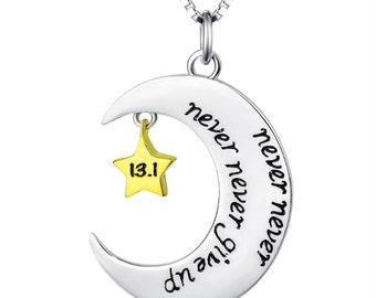 Never Never Give Up 13.1 & 26.2 Necklace Double Sided - 925 Sterling Silver!
