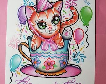 SALE A4 Tea party time cat kawaii tattoo print