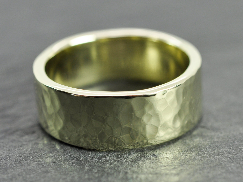 14K Green Gold Mens Wedding Band Hammered Gold Ring 8mm