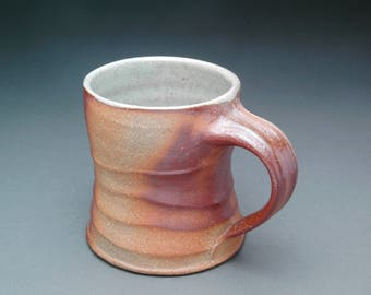 Brown Wood Fired Coffee Mug with Clear Blue Liner Glaze and Comfortable Handle