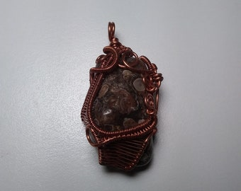 Turritella stone pendant with a heady copper wire wrapped jacket, heady wrap, water elemental, crystal healing, wrapping, grounding
