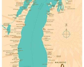 Lake Michigan Map Print