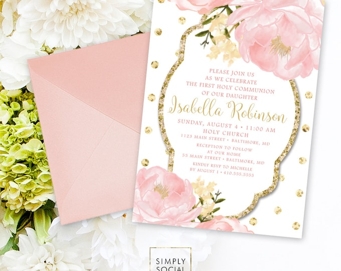 Floral Holy Communion Invitation - Personalized Custom Peony Flowers Pink Gold Polka Dot Botanical Romantic Printable Party Invite