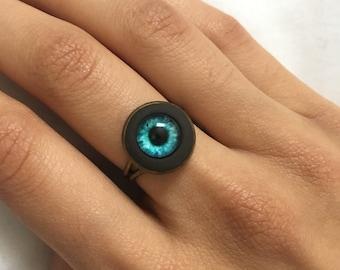 Ring, eye ring, eye Cabochon, evil eye, evil eye Ring, gift, blue ring, blue eye ring, bronze ring, blue eye cabochon