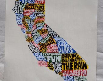 California Map Wall Art | CA poster | acrylic painting | home decor, map of California
