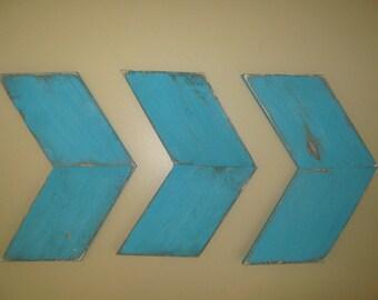 Rustic set of three arrows distressed blue hanging wall arrows 3 wood arrows