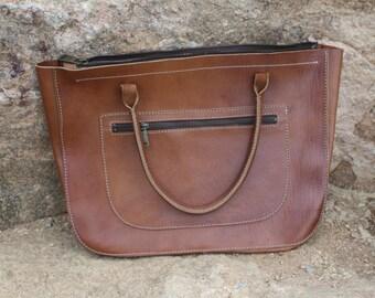 Reddish-Brown Leather Handbag/Purse - Handmade in Turkey