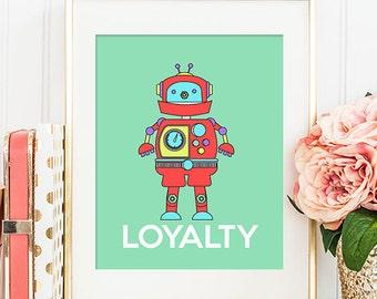 Robot Loyalty - 8x10 Nursery Art, Robot Art, Home Decor, Nursery Decor, Printable Art, Wall Art, Robot Decor, Robot Print