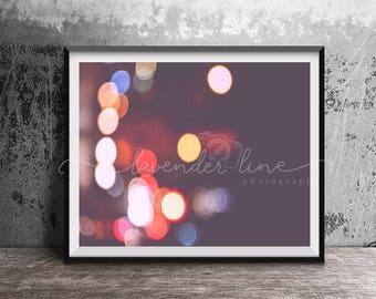 NEW YORK NIGHTS, Colour Photography Print, New York, City Lights, Bokeh, Wanderlust, Home Decor, Wall Art