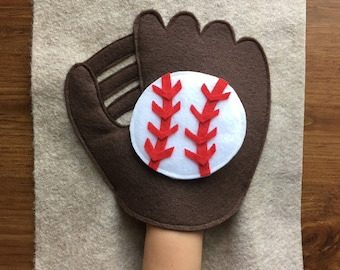 Baseball Mitt, Quiet Book Page, Toddler Activity, Felt Book, Birthday Gift, Quiet Church Activity, Busy Bag, ThePinkPenguinShop, Learning